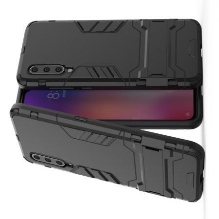 Защитный усиленный гибридный чехол противоударный с подставкой для Xiaomi Mi 9 Черный