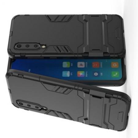 Защитный усиленный гибридный чехол противоударный с подставкой для Xiaomi Mi 9 SE Черный