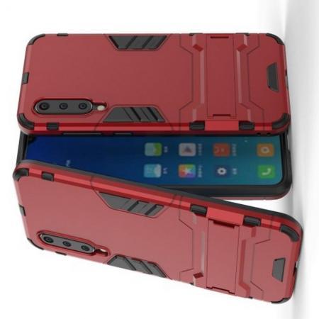 Защитный усиленный гибридный чехол противоударный с подставкой для Xiaomi Mi 9 SE Красный