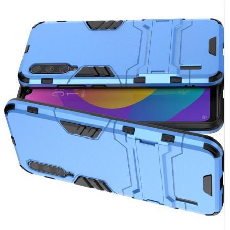 Защитный усиленный гибридный чехол противоударный с подставкой для Xiaomi Mi A3 Голубой