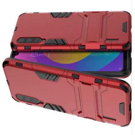 Защитный усиленный гибридный чехол противоударный с подставкой для Xiaomi Mi A3 Красный