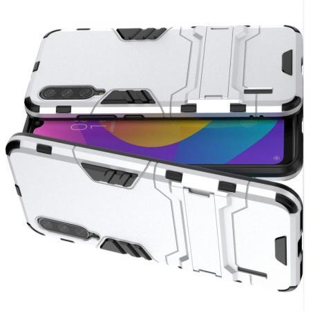 Защитный усиленный гибридный чехол противоударный с подставкой для Xiaomi Mi A3 Серебряный