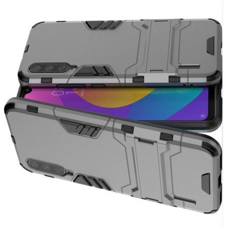 Защитный усиленный гибридный чехол противоударный с подставкой для Xiaomi Mi A3 Серый