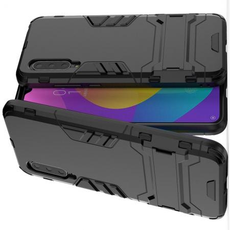 Защитный усиленный гибридный чехол противоударный с подставкой для Xiaomi Mi CC9 Черный