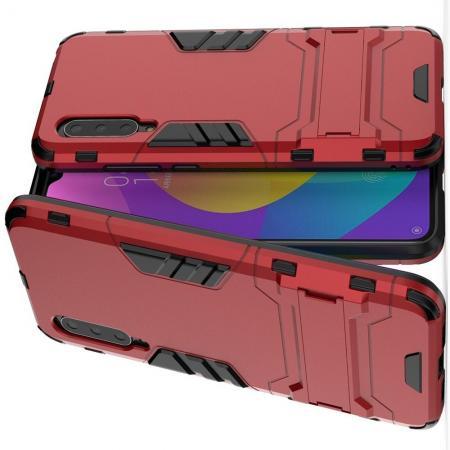 Защитный усиленный гибридный чехол противоударный с подставкой для Xiaomi Mi 9 Lite Красный