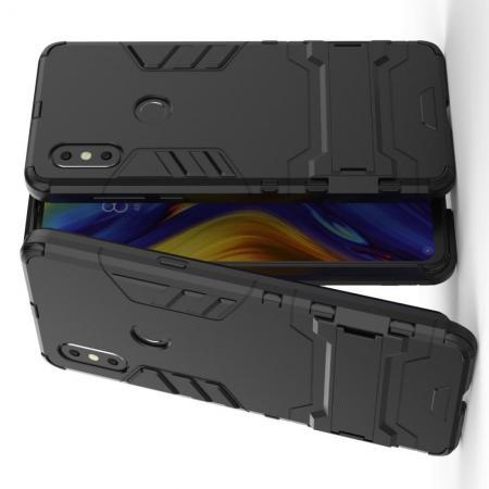 Защитный усиленный гибридный чехол противоударный с подставкой для  Xiaomi Mi Mix 3 Черный