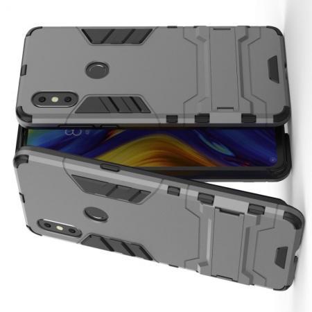 Защитный усиленный гибридный чехол противоударный с подставкой для  Xiaomi Mi Mix 3 Серый