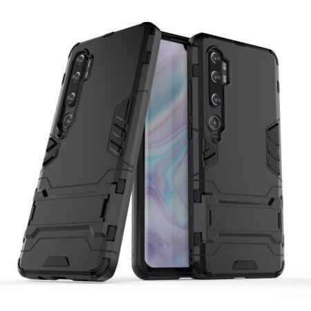 Защитный усиленный гибридный чехол противоударный с подставкой для Xiaomi Mi Note 10 Черный