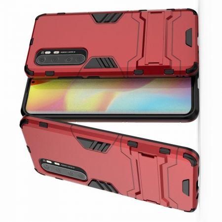 Защитный усиленный гибридный чехол противоударный с подставкой для Xiaomi Mi Note 10 Lite Красный