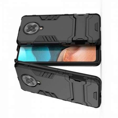 Защитный усиленный гибридный чехол противоударный с подставкой для Xiaomi Poco F2 Pro Черный
