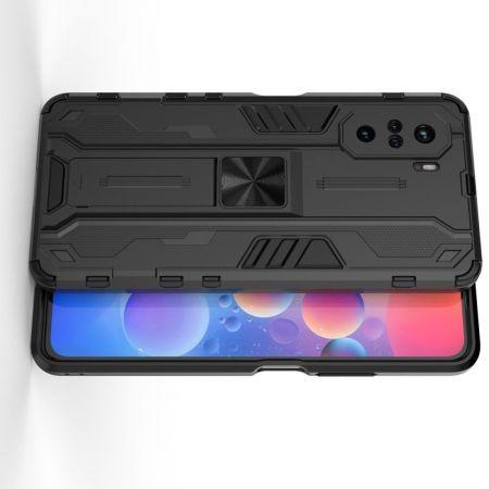 Защитный усиленный гибридный чехол противоударный с подставкой для Xiaomi POCO F3 Черный