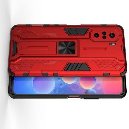 Защитный усиленный гибридный чехол противоударный с подставкой для Xiaomi POCO F3 Красный