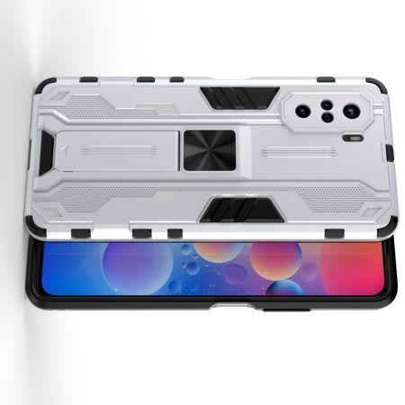 Защитный усиленный гибридный чехол противоударный с подставкой для Xiaomi POCO F3 Серебряный