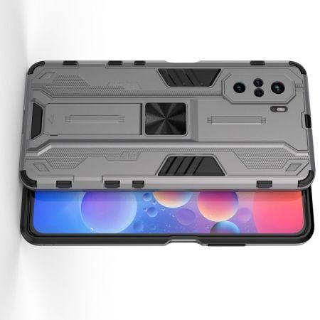 Защитный усиленный гибридный чехол противоударный с подставкой для Xiaomi POCO F3 Серый
