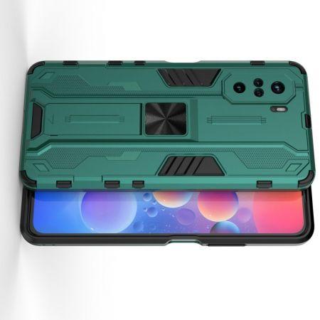 Защитный усиленный гибридный чехол противоударный с подставкой для Xiaomi POCO F3 Зеленый