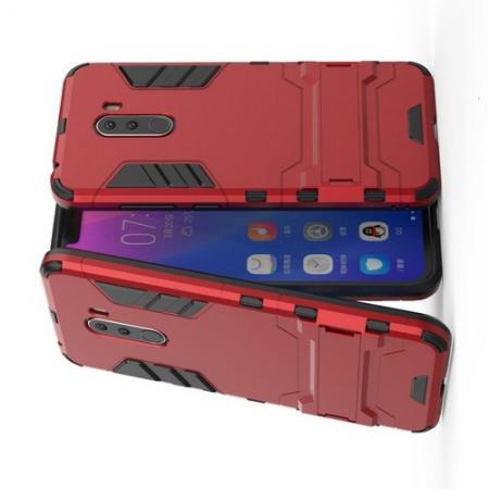 Защитный усиленный гибридный чехол противоударный с подставкой для Xiaomi Pocophone F1 Красный