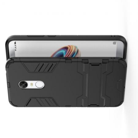 Защитный усиленный гибридный чехол противоударный с подставкой для Xiaomi Redmi 5 Plus Черный