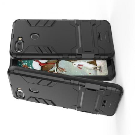 Защитный усиленный гибридный чехол противоударный с подставкой для Xiaomi Redmi 6 Черный