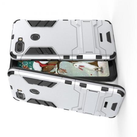 Защитный усиленный гибридный чехол противоударный с подставкой для Xiaomi Redmi 6 Белый