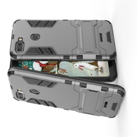 Защитный усиленный гибридный чехол противоударный с подставкой для Xiaomi Redmi 6 Серый