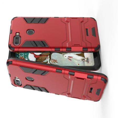 Защитный усиленный гибридный чехол противоударный с подставкой для Xiaomi Redmi 6 Красный