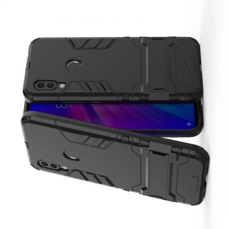 Защитный усиленный гибридный чехол противоударный с подставкой для Xiaomi Redmi 7 Черный