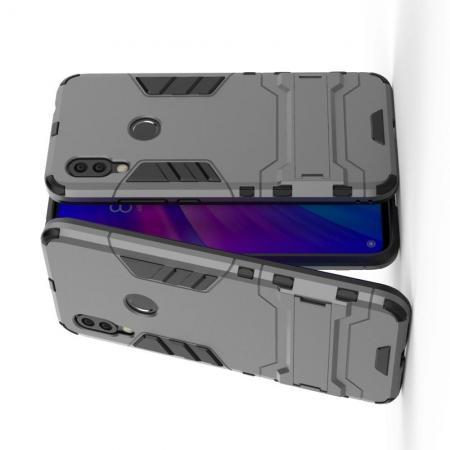 Защитный усиленный гибридный чехол противоударный с подставкой для Xiaomi Redmi 7 Серый