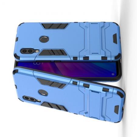 Защитный усиленный гибридный чехол противоударный с подставкой для Xiaomi Redmi 7 Синий