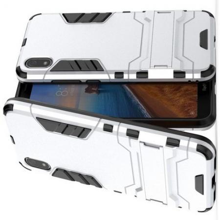 Защитный усиленный гибридный чехол противоударный с подставкой для Xiaomi Redmi 7A Белый
