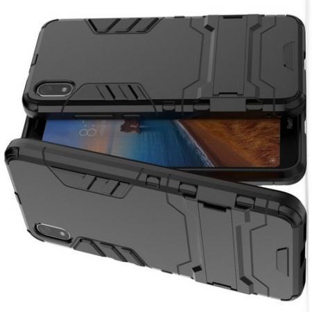 Защитный усиленный гибридный чехол противоударный с подставкой для Xiaomi Redmi 7A Черный