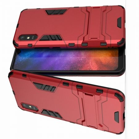 Защитный усиленный гибридный чехол противоударный с подставкой для Xiaomi Redmi 9A Красный