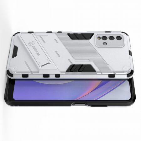 Защитный усиленный гибридный чехол противоударный с подставкой для Xiaomi Redmi 9T Белый