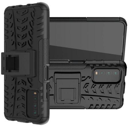 Защитный усиленный гибридный чехол противоударный с подставкой для Xiaomi Redmi 9T Черный