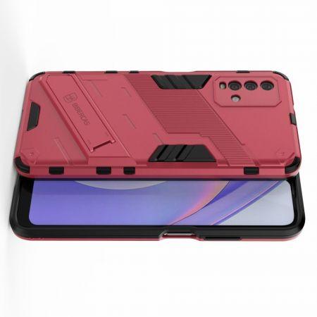 Защитный усиленный гибридный чехол противоударный с подставкой для Xiaomi Redmi 9T Розовый
