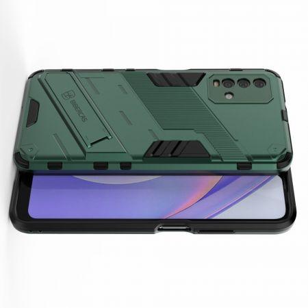 Защитный усиленный гибридный чехол противоударный с подставкой для Xiaomi Redmi 9T Зеленый