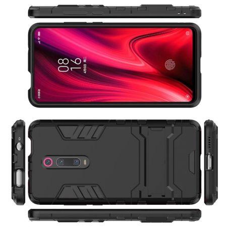 Защитный усиленный гибридный чехол противоударный с подставкой для Xiaomi Redmi K20 Черный