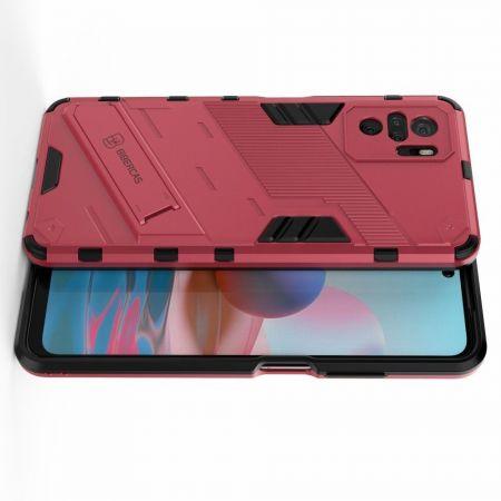 Защитный усиленный гибридный чехол противоударный с подставкой для Xiaomi Redmi Note 10 Розовый