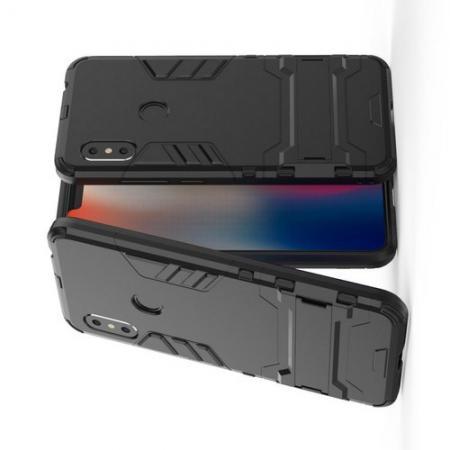 Защитный усиленный гибридный чехол противоударный с подставкой для Xiaomi Redmi Note 6 / Note 6 Pro Черный