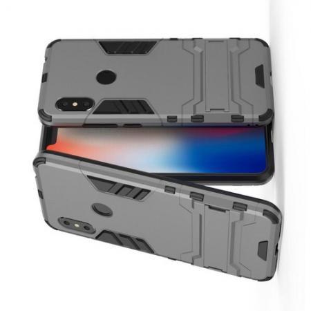 Защитный усиленный гибридный чехол противоударный с подставкой для Xiaomi Redmi Note 6 / Note 6 Pro Серый