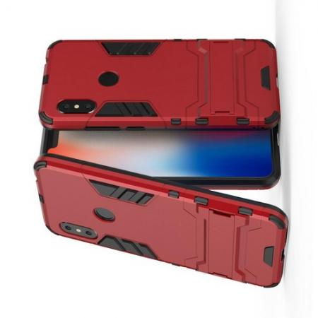 Защитный усиленный гибридный чехол противоударный с подставкой для Xiaomi Redmi Note 6 / Note 6 Pro Красный