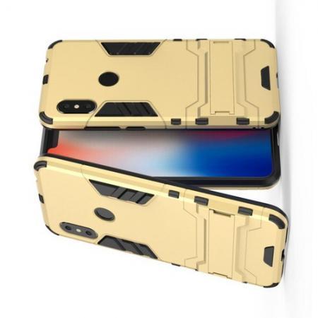 Защитный усиленный гибридный чехол противоударный с подставкой для Xiaomi Redmi Note 6 / Note 6 Pro Золотой