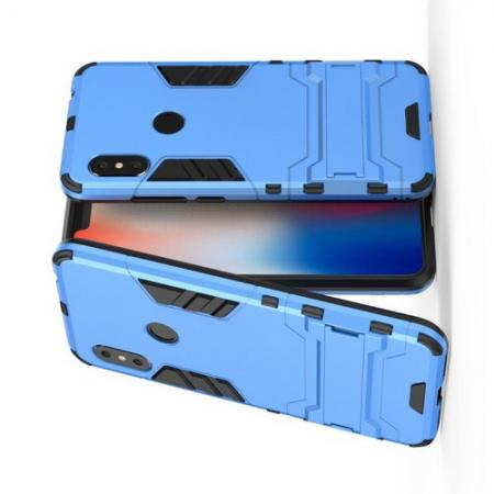 Защитный усиленный гибридный чехол противоударный с подставкой для Xiaomi Redmi Note 6 / Note 6 Pro Голубой