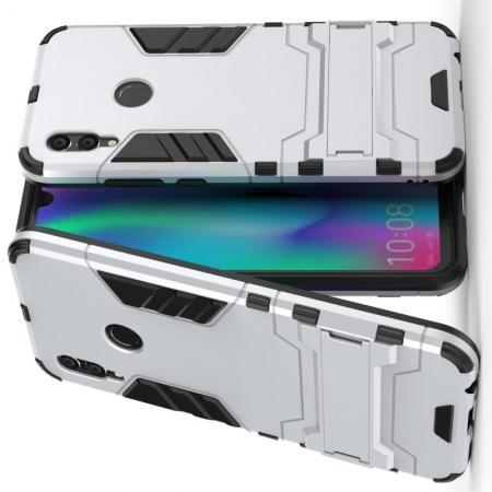 Защитный усиленный гибридный чехол противоударный с подставкой для Xiaomi Redmi Note 7 / Note 7 Pro Серебряный