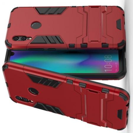 Защитный усиленный гибридный чехол противоударный с подставкой для Xiaomi Redmi Note 7 / Note 7 Pro Красный