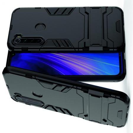 Защитный усиленный гибридный чехол противоударный с подставкой для Xiaomi Redmi Note 8 Черный