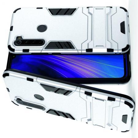 Защитный усиленный гибридный чехол противоударный с подставкой для Xiaomi Redmi Note 8 Серебряный