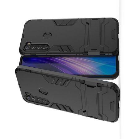 Защитный усиленный гибридный чехол противоударный с подставкой для Xiaomi Redmi Note 8T Черный