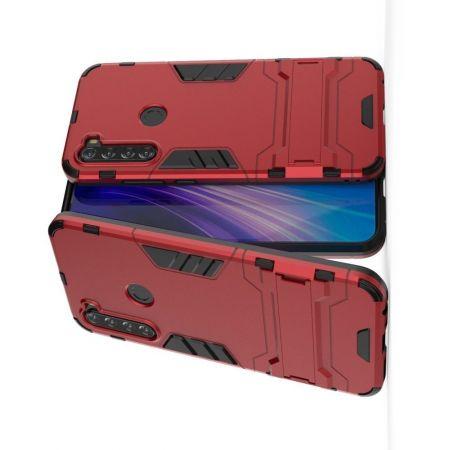 Защитный усиленный гибридный чехол противоударный с подставкой для Xiaomi Redmi Note 8T Красный