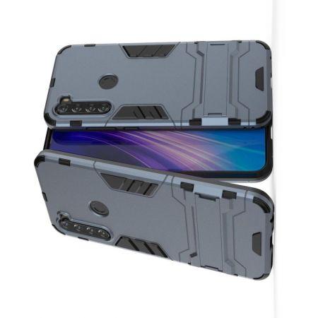 Защитный усиленный гибридный чехол противоударный с подставкой для Xiaomi Redmi Note 8T Синий