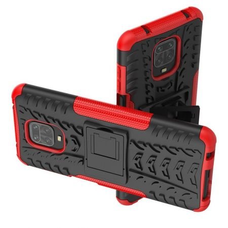 Защитный усиленный гибридный чехол противоударный с подставкой для Xiaomi Redmi Note 9 Pro Красный